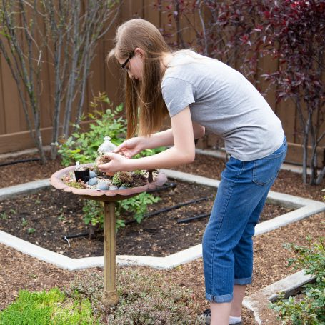 girl planting succulents bird bath